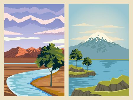 beautiful landscape with river and lake scene vector illustration design