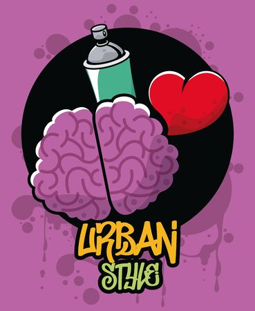 graffiti urban style poster with paint spray bottle and brain vector illustration design