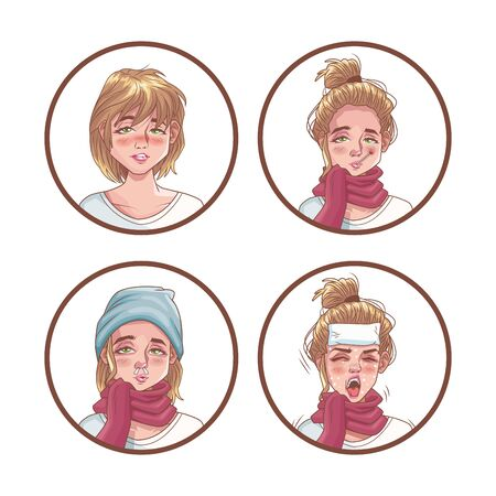 women group with corona virus scene vector illustration design