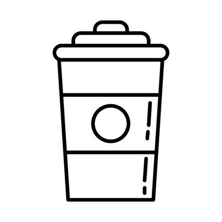 delicious coffee in plastic container icon vector illustration design