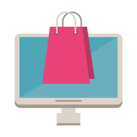 desktop computer with shopping bag vector illustration design