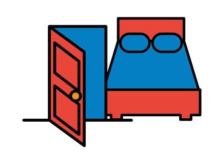 house door with bed icon vector illustration design Ilustração