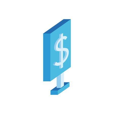 commercial tag with money symbol isometric style vector illustration design