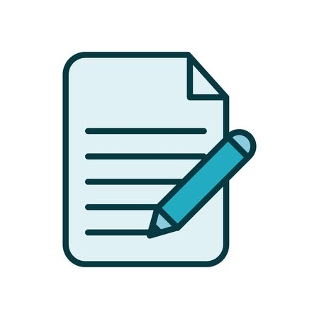 paper document with pen line style icon vector illustration design Banco de Imagens - 143047441