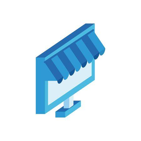 desktop with market parasol isometric style icon vector illustration design Ilustração