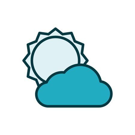 sun with clouds line style icon vector illustration design