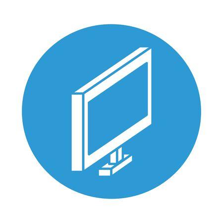 desktop symbol block style icon vector illustration design