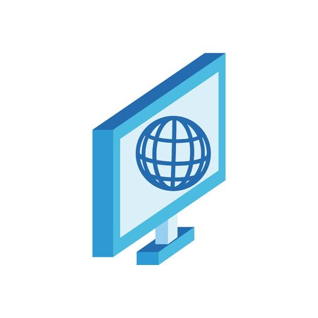 desktop with sphere browser isometric style icon vector illustration design