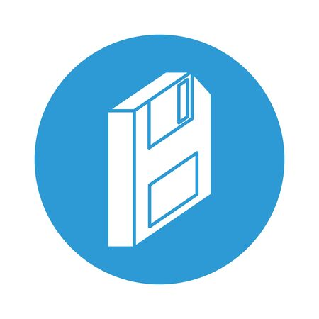 floppy disk block style icon vector illustration design Çizim