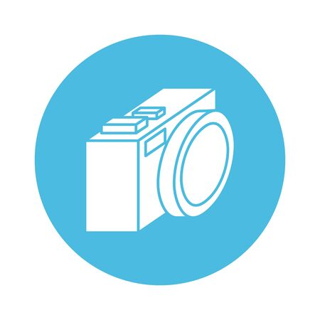 camera photographic block style icon vector illustration design
