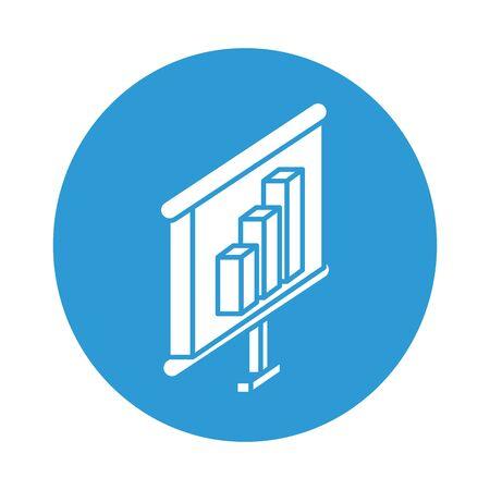 desktop with statistics bars block style icon vector illustration design Ilustração