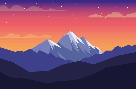 beautiful landscape with mountains scene vector illustration design Ilustração