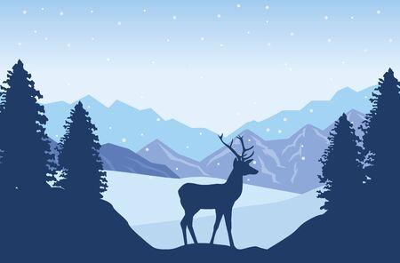beautiful landscape with reindeer scene vector illustration design