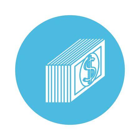 bills money dollars block style icon vector illustration design
