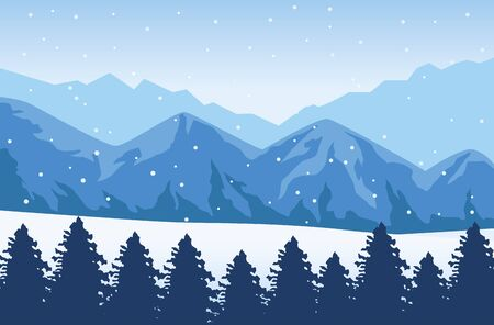 beautiful landscape with trees forest and mountains vector illustration design Ilustração