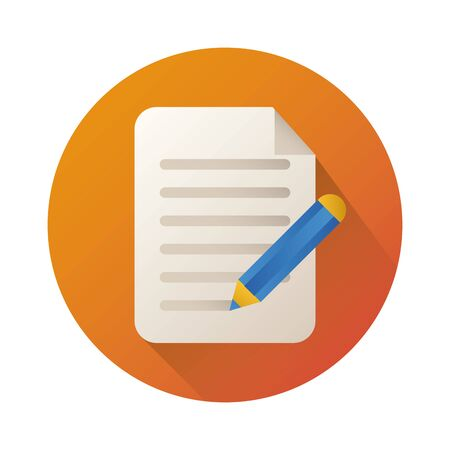 paper document with pen block style icon vector illustration design