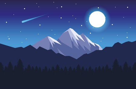beautiful landscape with mountains night scene vector illustration design Ilustração