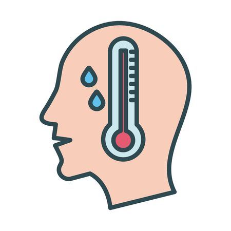 profile human with fever and thermometer fill style icon vector illustration design