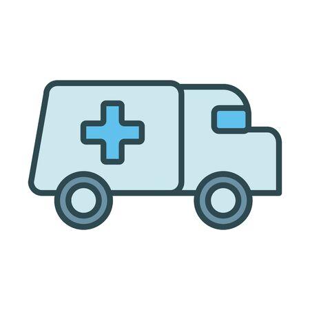 ambulance car fill style icon vector illustration design