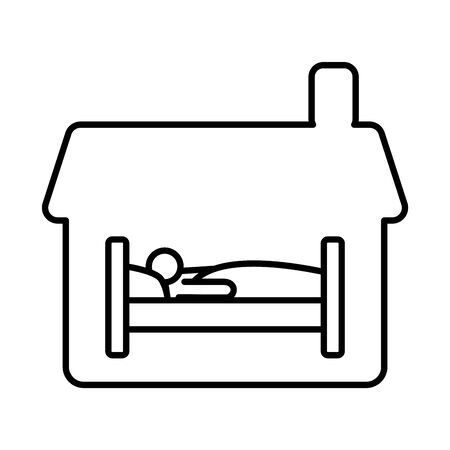 house with person sleeping in bed line style icon vector illustration design