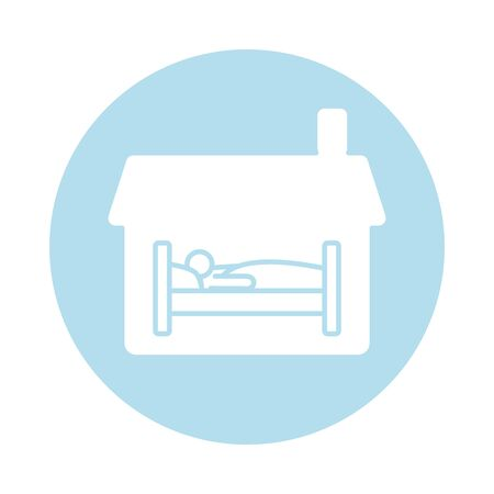 house with person sleeping in bed block silhouette style icon vector illustration design Ilustração