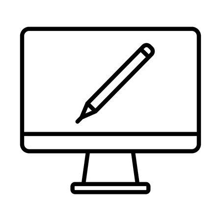 desktop with pencil online education line style vector illustration design