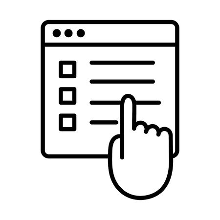 template webpage with hand index line style icon vector illustration design