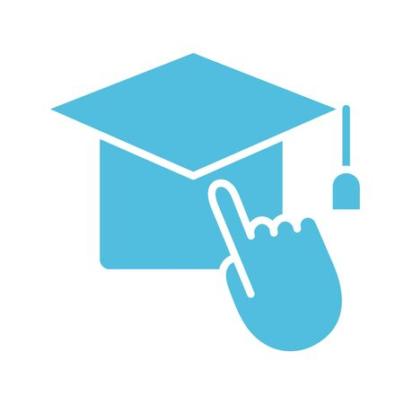 hat graduation with hand mouse cursor silhouette style icon vector illustration design Ilustração
