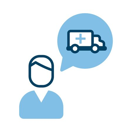 person with ambulance in speech bubble vector illustration design