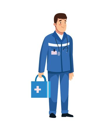 paramedic with medical kit character vector illustration design