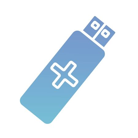 usb memory with cross health online silhouette gradient style vector illustration design