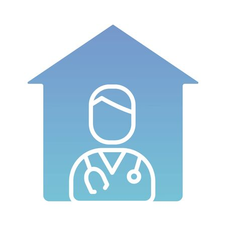 house with doctor professional character silhouette gradient style vector illustration design