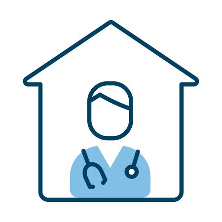house with doctor professional character half line style vector illustration design