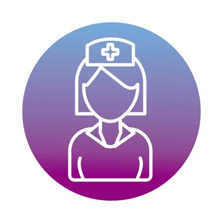 nurse woman professional block style vector illustration design