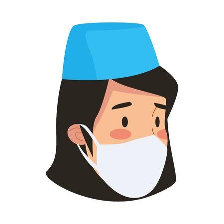 nurse professional worker avatar character vector illustration design