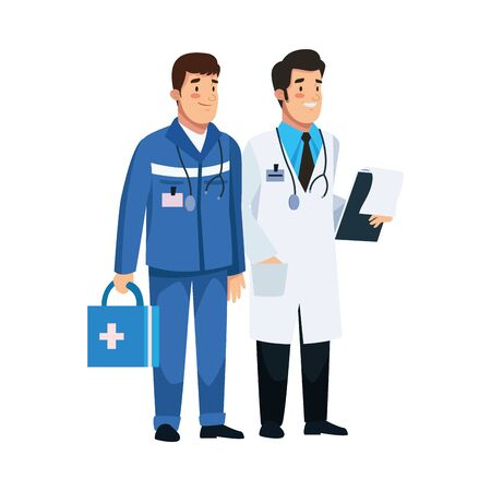 paramedic and doctor staff characters vector illustration design Ilustracja