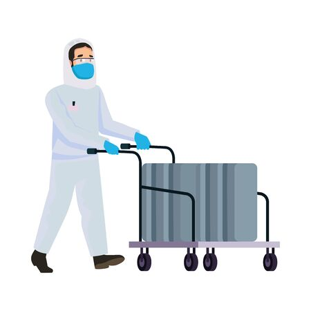 biohazard cleaning person with cart character vector illustration design