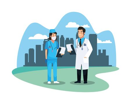 nurse and doctor staff medical characters vector illustration design