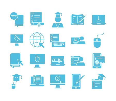 bundle of education onsilhouette set icons vector illustration design