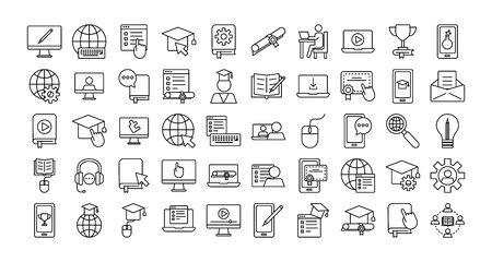 bundle of education online set icons vector illustration design