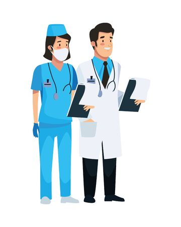 nurse professional and doctor characters vector illustration design