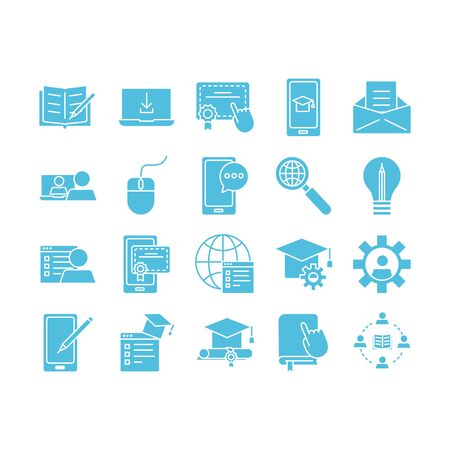 bundle of education on silhouette set icons vector illustration design