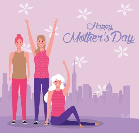 mothers day card with beautiful moms mothers day card vector illustration design