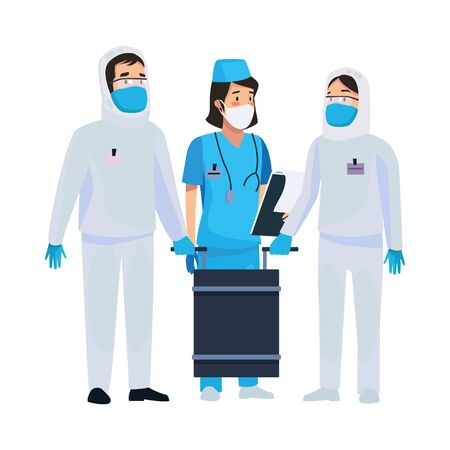 nurse with biosecurity cleaning persons vector illustration design