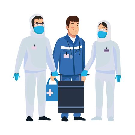 biohazard cleaning persons with paramedic characters vector illustration design Ilustracja