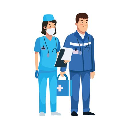 nurse professional with paramedic characters vector illustration design