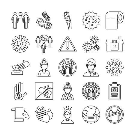 bundle of covid19 set icons vector illustration design
