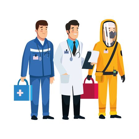 paramedic and doctor with biohazard suit staff characters vector illustration design