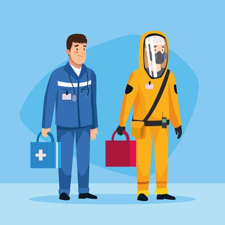 biohazard cleaning person and paramedic characters vector illustration design