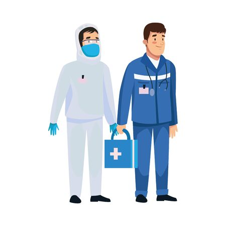 biohazard cleaning person with paramedic characters vector illustration design